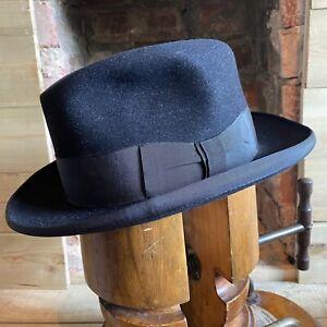 Vtg Stanton Black Homburg Fur Felt Hat EU 58 UK 7 1/8 US 7 1/4
