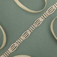 Thin Crystal Wedding Dress Belt Bridal Sash Women Rhinestone Belt with Ribbon