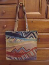 "Vintage ""DANCING-CAT"" Tote Purse Burbank CA Made in USA tapestry zippered pocket"