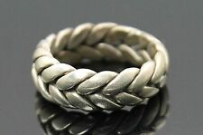 Silver Unisex Ring Size 9 Fabulous Vintage Braided Band Modernist Sterling