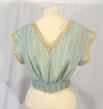 Vintage Victorian Edwardian Shirt Top Blouse w Crochet Lace Trim