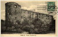 1924 Stempel HALLE Saale auf AK Burg Ruine Moritzburg Postkarte Ansichtskarte