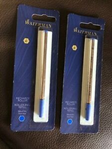 LOT OF 2 Pack Waterman Rollerball Pen Refill, Fine Point, BLUE Ink NEW  SEALED