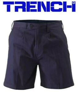 Cotton Drill Work Shorts With Belt Loops - Navy