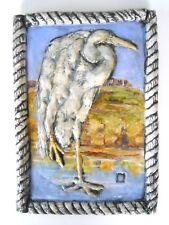 "Bird Ceramic Tile Art Coastal Wall Decor Hanging Handmade Heron Water 9"" x 13"""