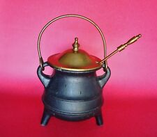 Beautiful Miniature Cast Iron Cauldron Pot on Tripod Legs w/ Brass Cover
