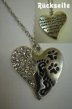 🐾 Damen Anhänger schwarz silber Herz Hund Katze Pfoten Pfote Tatze + Kette NEU