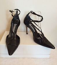 MONOLO BLAHNIK BLACK LEATHER ANKLE STRAP HEELS SIZE 7.5/40.5