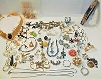 Vintage Estate Jewelry Junk Drawer Lot Rhinestone Sterling Ring Pin Wear Repair
