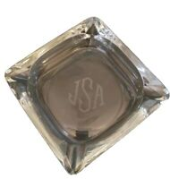 "Ashtray Heavy Clear Glass Beveled Corners 4 Slot Cigar 6"" Etched Monogram jSa"