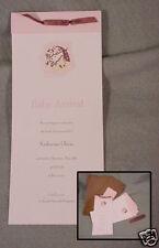 Gartner Studios ~ U Print Pink & Brown+Ribbon ~ 36 Baby Girl Birth Announcement
