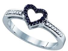 0.12ctw Black Diamond Heart Ring 10K White Gold