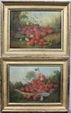 c.1860s fruit still life in landscape oil painting pair Hudson River School era