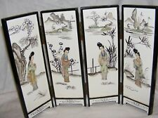 VINTAGE CHINESE WOOD LACQUER MOTHER OF PEARL TABLE SCREEN HAND PAINTED LADIES