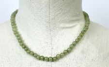 Vintage Jade Stone Necklace Green Jewelry Choker Dainty Screw Clasp