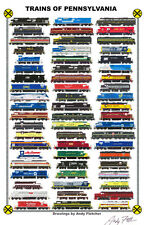 "Trains of Pennyslvania 11""x17"" Railroad Poster by Andy Fletcher signed"
