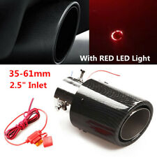 35-61mm Inlet Carbon Fiber Look Car SUV Exhaust Muffler Pipe Tip w/RED LED Light