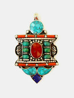 Asian Ethnic Beautiful Handmade Sterling Silver Pendant Turquoise Coral Lapis A4