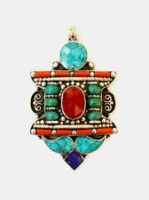Beautiful Handmade Sterling Silver Pendant Jewelry Turquoise Coral Lapis A4