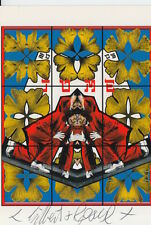 GILBERT AND GEORGE HAND SIGNED 6X4 POSTCARD TOME.