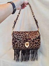 PRADA Brown Suede Animal Fur Print Leopard Fringe Handbag Clutch GOLD