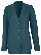 Womens 5 Button Cable Knit Winter Ladies Cardigan Knitted Jumper Size 8 10 12 14 Large / X-large Teal