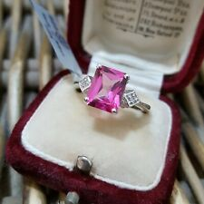 GEMS TV SOLID SILVER RING, MYSTIC PINK TOPAZ, WHITE TOPAZ,ENGAGEMENT,SIZE K,BNWT