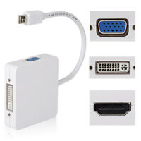 3 in1 Thunderbolt DP Display port to HDMI DVI VGA Adapter Cable for MacBook ZJZY