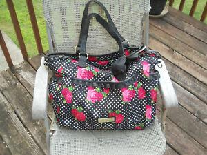 BETSEY JOHNSON Flower and Dots Nylon Extra Large Handbag/Hobo/Overnight Bag