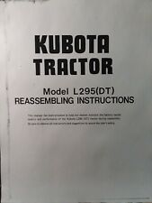 Kubota L295 (DT) Farm Agricultural Tractor Reassembling Instructions Manual