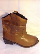 Shoe Tailor Brown Ankle Leather Boots Size 4
