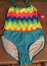 Girls X LARGE 2 Piece Rainbow Swim Suit Baithing Suit New With Tags NWT
