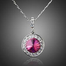 Platinum Plated Red Swarovski ELEMENTS Austrian Crystal Round Pendant Necklace