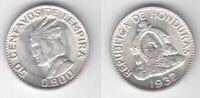 HONDURAS - RARE SILVER 50 CENTAVOS aUNC COIN 1932 YEAR KM#74