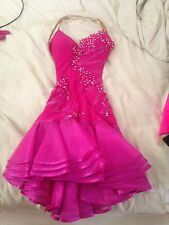 Girls Pink Latin/Rhythm Ballroom Dress fits sizes 10-14 WITH accessories