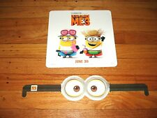 RARE Despicable Me 3 Movie Premier Promo Mini Activity Poster and Minion Glasses