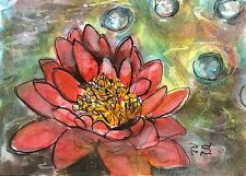 ACEO Water Lily Coral Pond Lake Flower Painting Folk Art by Penny Lee StewArt
