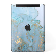 Skins Decal Wrap for Apple iPad 9.7 2017 Teal Blue Gold White Marble Granite