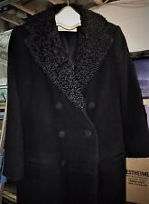 PAULINE TRIGERE WOMEN'S BLACK WOOL COAT w/LAMB SKIN FUR COLLAR & LAPELS SIZE S