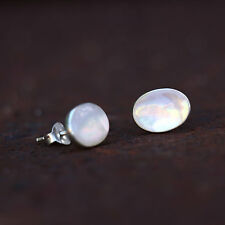 Mother Of Pearl Stud Earrings Sterling Silver New Jewelry Shipping Included