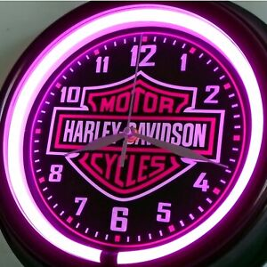 HARLEY DAVIDSON MOTORCYCLES LADIES RETRO THEMED PINK LED SILENT WALL CLOCK.