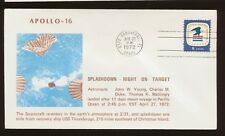 Apollo 16 splashdown on target near USS Ticonderoga - pmk  Apr 27, 1972