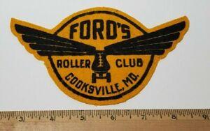 VINTAGE 1940's Ford's Roller Club Cooksville, MD ROLLER SKATING RINK felt patch