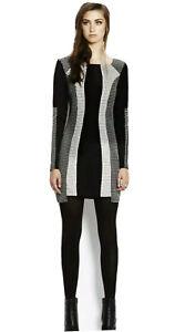"WISH ""Accord"" Black & White Panel Stretch Shift Dress Longsleeve Shaped Hem 12"