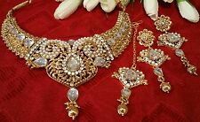 Bollywood Indian Jewellery gold pearl necklace earring tikka set bridal ethnic
