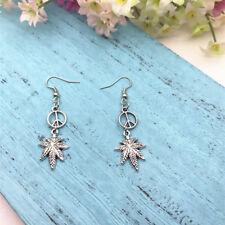 Cannabis Earrings Leaf Earrings Peace Sign Earrings Peace Hippie Jewellery
