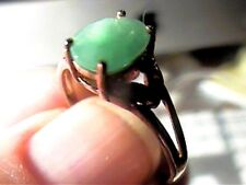 NATURAL EMERALD SILVER RING 7.25  BROWN  SAPPHIRE STERLING 925 yellow tone class
