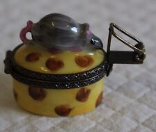Limoges Hand Painted Signed Trinket Box - Mouse with Mousetrap Clasp