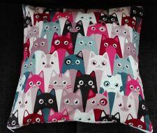 Kissenhülle Kissenbezug 40x40 cm Katzen rot Kinderkissen Dekokissen Handarbeit