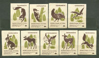 1968, FAUNA, SAVE ANIMALS AND BIRDS, SET OF 9 FINE RUSSIAN MATCHBOX LABELS